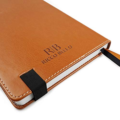 RICCO BELLO Primo Hardcover Dotted A5 Notebook, Thick Paper, Pen Loop, 5.7 x 8.4 inches, Brown