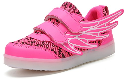 Sweeting Wings Led Light Up Shoes 7 Colors Flashing Rechargeable Sneakers Ankel Boots for Kids Boys Girls (Toddler/Little Kids/Big Kids) ST6228P-30 Pink -