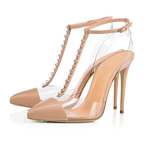 With Height High 13CM Sandals Fine 11CM Women's Nudecolor Heeled Heels Heel Closed Toe Pointed Rivets Heel gao Girl n8641AI