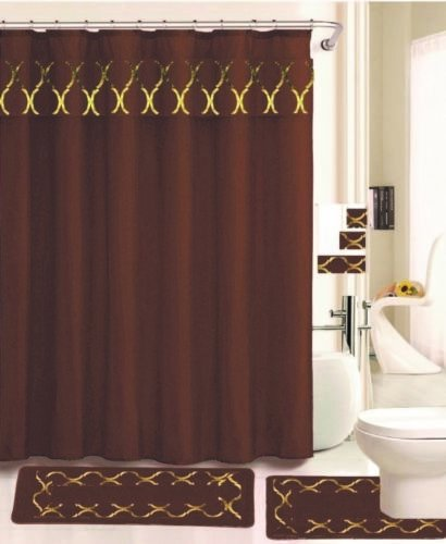 Regina Chocolate Brown And Gold 18 Pieces Shower Curtain 2 Rugs 3 Piece Towel