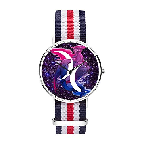 Wrist Dragon White Watch - Customized Star Dragon Wrist Watch, Blue White Red White Blue Nylon Watch Band Silver Dial Plate Men 40mm Fashionable Wrist Watch for Men