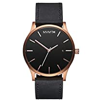 MVMT Watches Rose Gold Case with Black Leather Strap Men's Watch