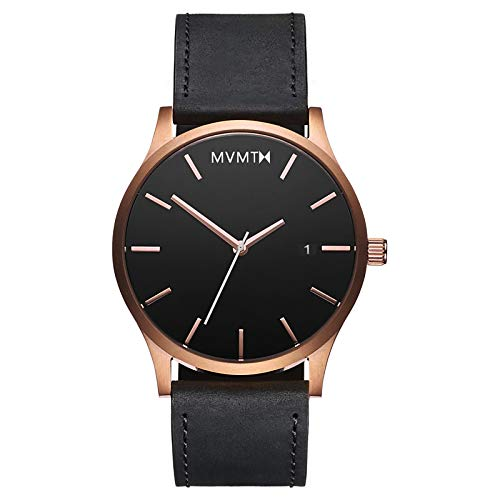 MVMT Classic Watches | 45 MM Men's Analog Minimalist Watch | Leather Wristband (Rose Gold Black) ()