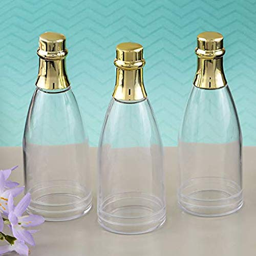 FavorOnline, Wedding Bridal Birthday Celebration Party Favors, Perfectly Plain Collection Champagne Bottle Acrylic Container with Gold foil top (80)