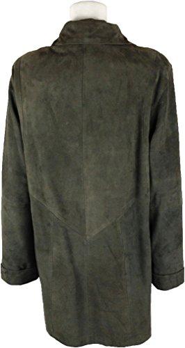 UNICORN Mujeres capa clásica Genuino real cuero chaqueta Verde Gamuza #BR