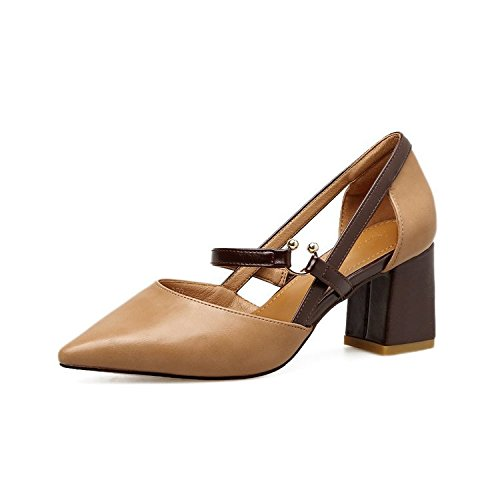 High-Heeled Shoes Sandals Thick With Summer Tip Light-Belt Style And Comfort A Pair Of Khaki 38 -