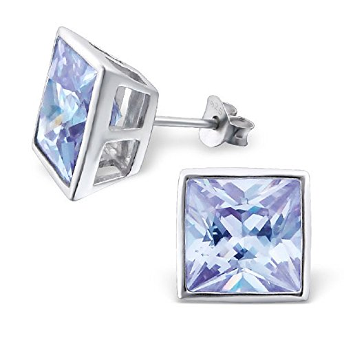 925 Sterling Silver 10mm Lavender CZ Square Stud Earrings 3699