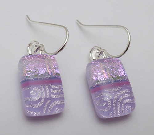 Fused Modern Petite Lavender Pink dichroic glass dangle earrings sterling silver ear wires ()