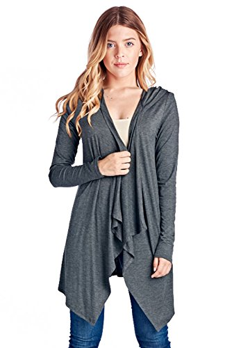 82J-2074RS-CHC Women's Rayon Span Open Front Cardigan With Hoodies - Charcoal (Hooded Open Cardigan)