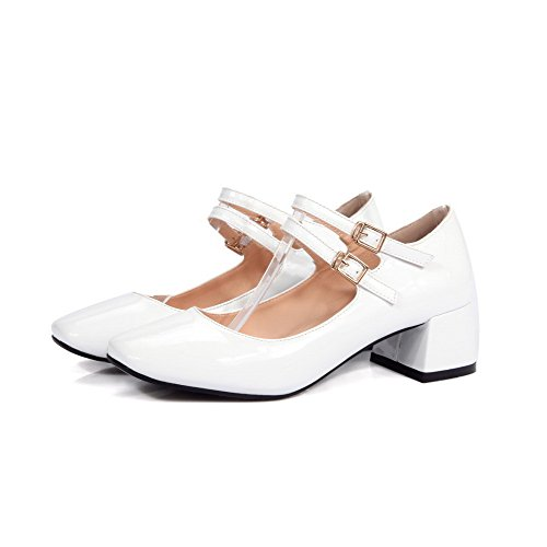 AllhqFashion Womens PU Kitten Heels Square Closed Toe Solid Buckle Pumps-Shoes, White, 34