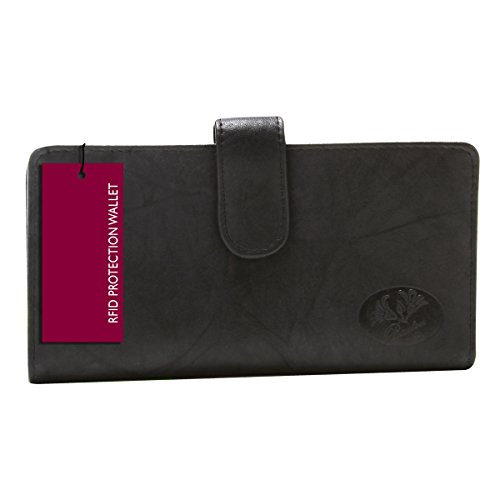 buxton-womens-leather-slim-floral-embossed-checkbook-cover-wallet-black-rfid-protected