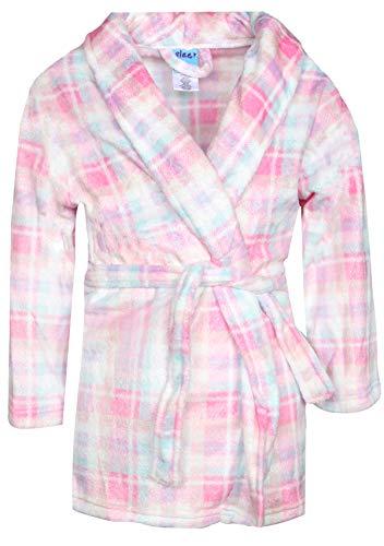 16' Adjustable Collar - Sleep On It Girl\'s Coral Fleece Printed Medium Length Robe (Sheer Glitter Flannel, 14-16)'