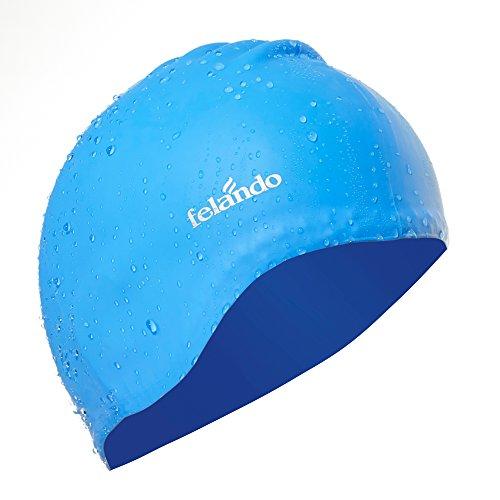 Felando Large Silicone Solid Swim Cap for Women Girls Men and Adult,Long Hair Thick Hair Curly Hair Dreadlocks Ear Wrap Swim Cap,UV Blocked &Waterproof Swim Cap (Best For Blocked Ears)