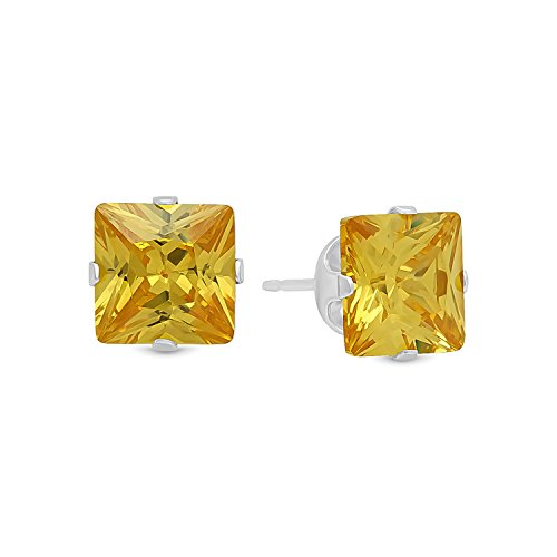 Princess Cut Simulated Citrine Yellow 7mm CZ Sterling Silver Stud (Genuine Large Citrine Ring)