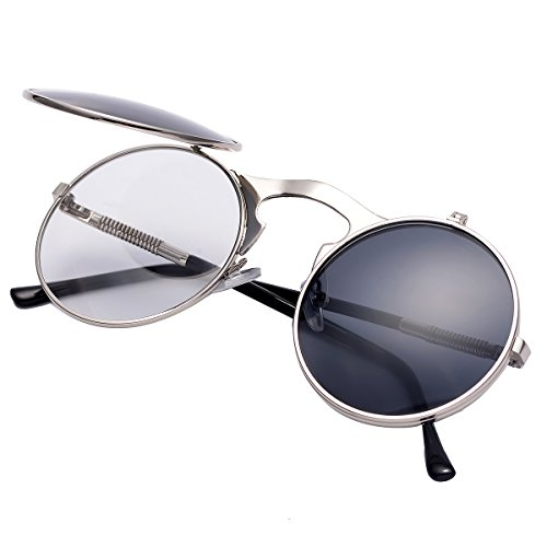 (COASION Vintage Round Flip Up Sunglasses for Men Women Juniors John Lennon Style Circle Sun Glasses(Silver Frame/Black)