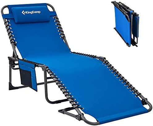 KingCamp Adjustable 4-Position Patio Chaise Lounge Chair Heavy Duty Outdoor Camping Recliner Folding Cot with Pillow Pocket for Garden Yard Lawn Sunbathing Beach Pool, Supports 265lbs