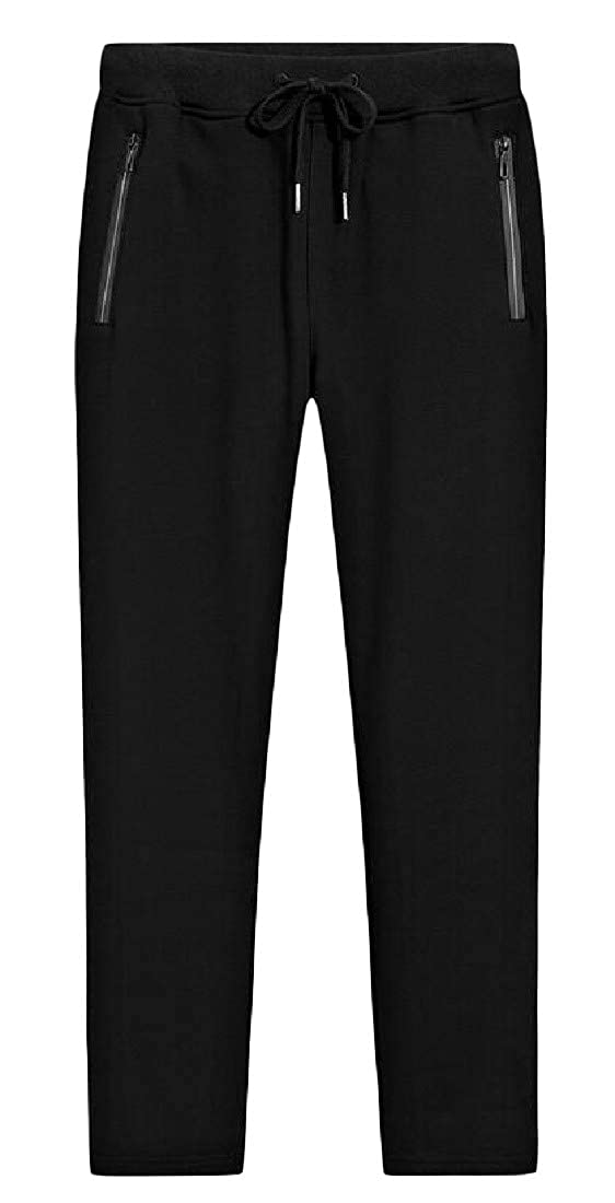Pandapang Men Fleece Solid Color Warm Sweatpants Elastic Waist Loose Pants