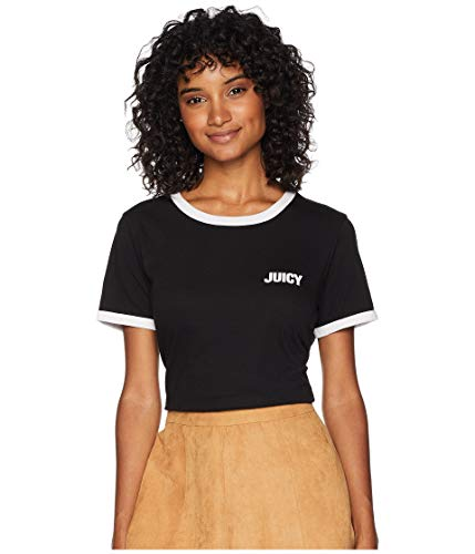 Juicy Couture Women T-shirts - Juicy Couture Women's Juicy Short Sleeve Ringer Tee Pitch Black Small