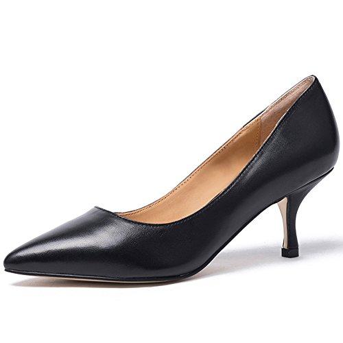Darco&Gianni Womens Kitten Mid Heel Pump Ladies Pointed Toe Basic Office Work Shoe Classic Leather Slip On Low Heel Shoe (7, black (Black Leather Ladies Pumps)
