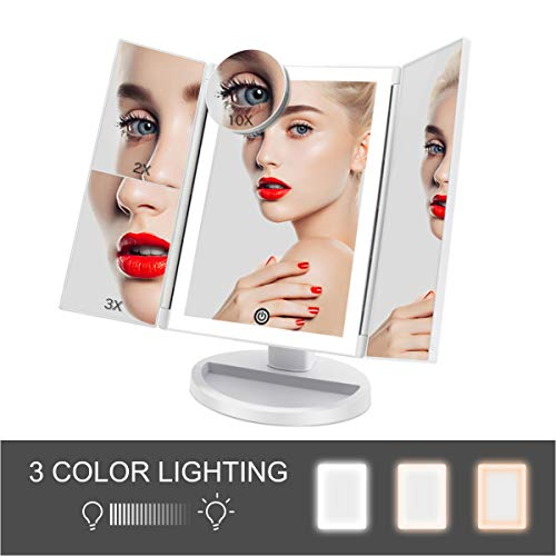 FASCINATE Trifold Lighted Makeup Mirror 3 Color Lighting Modes 36 LEDs Makeup Vanity Mirror with 10X/3X/2X/1X Magnification, Cord & Cordless, 180°Rotation Touch Screen Cosmetic Mirror White -