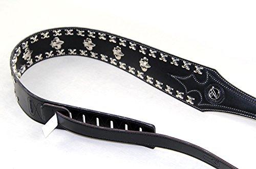 oxita (TM) Vorson correa de piel correa para guitarra/bajo eléctrico/Death Metal Rock, Punk guitarra correa de piel, negro: Amazon.es: Instrumentos ...