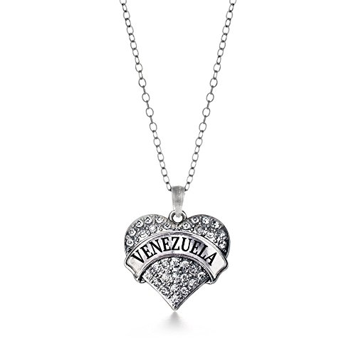 Silver Inspired Necklace Heart (Inspired Silver Venezuela Pave Heart Charm Necklace Clear Cystal Rhinestones)
