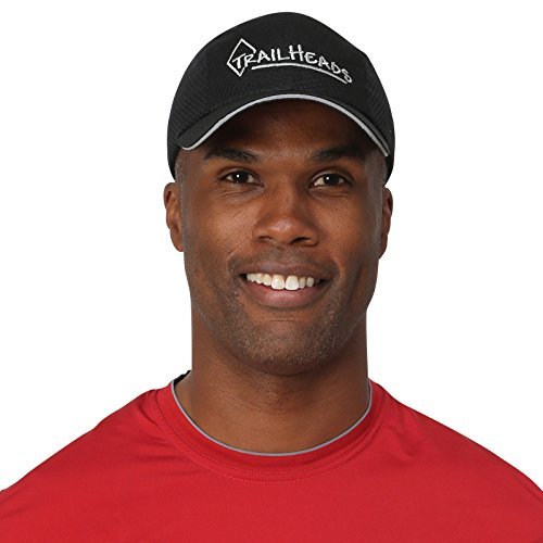 TrailHeads Race Day Performance Running Cap   The Lightweight, Quick Dry, Sport Cap for Men - 5 Colors - Black/Silver Logo