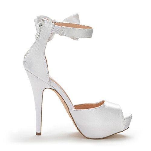 DREAM PAIRS Womens SWAN-08 Ankle Strap Heel Pump Shoes Sandals White cTmv447