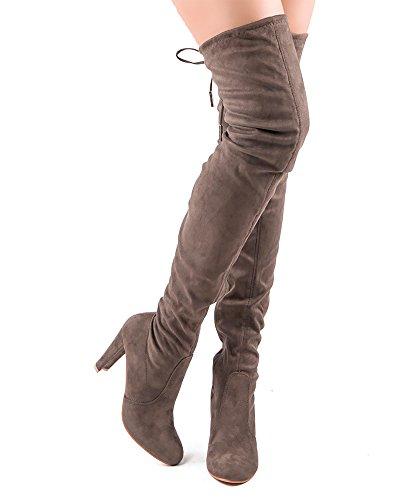 RF RAUM DER MODE Frauen Mode Bequeme Vegane Wildleder Blockabsatz Seitlicher Reißverschluss Oberschenkel Hohe Overknee Stiefel Taupe Su