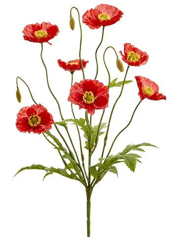 Floral Home Red Artificial Poppy Bush - 15
