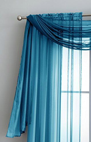 Pair Of Long Length Turquoise Blue Sheer Window Curtains