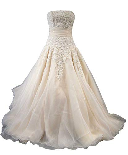 SLOVEDRESS Womens A-Line Strapless Organza with Beaded Lace Chapel Train Wedding Dress (US 8,Champagne)