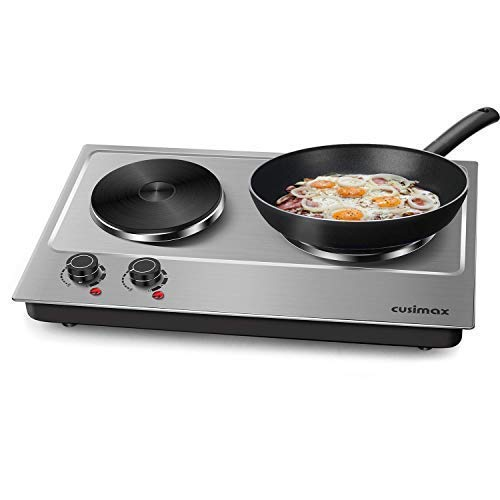 Cusimax 1800W Hot Plate for Cooking Electric - Double Electric Burner - Stainless Electric Stove - Upgraded - CMHP-C180N ()