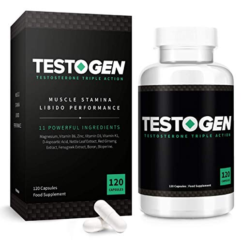 TestoGen Triple-Action Testosterone Booster with Powerful Natural Ingredients, Helps Improve Stamina, Strength and Energy (120 Capsules)