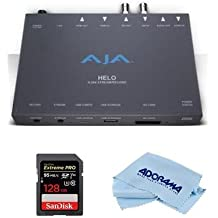 Aja HELO H.264 Streamer and Recorder - Bundle with 128GB SDXC U3 Card, Microfiber Cloth