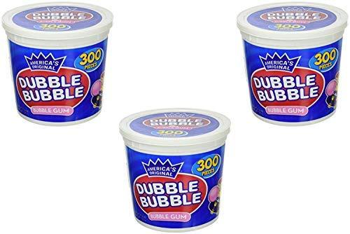 America's Original Dubble Bubble Bubble Gum 47.6 Ounce Value Tub 300 Individually Wrapped Pieces (3 Pack)