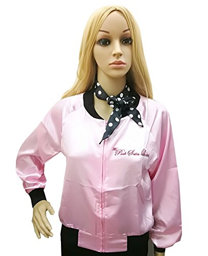 Pink Ladies Outfit Grease (Tdmall 50's Costume Party Pink Stain Ladies Jacket Adult Standard with Scarf XXL)