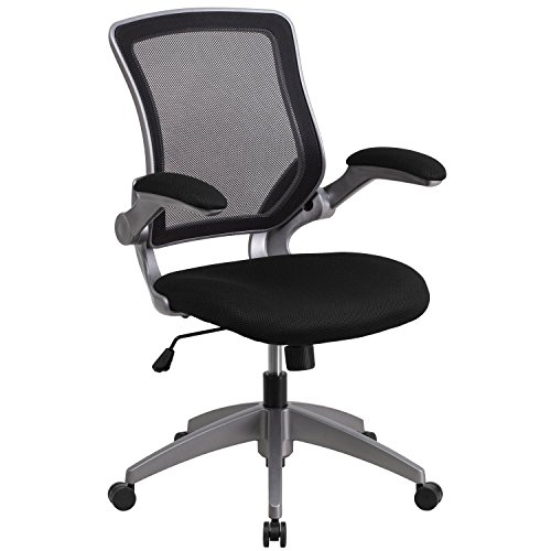 Flash Furniture Mid-Back Black Mesh Swivel Task Chair with Gray Frame and Flip-Up Arms by Flash Furniture