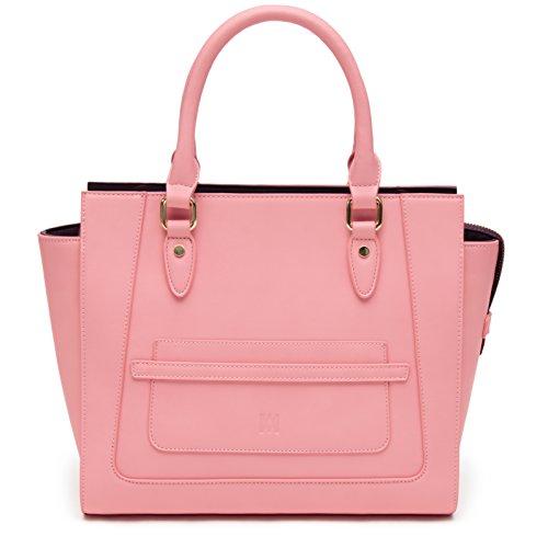 Marsi Bond Designer Womens Handbag - Top Handle Vegan Leather Tote Purse - Pink with Purple