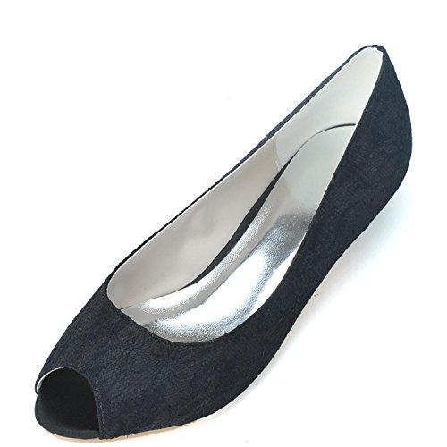 5 Wedding 3 Shoes Elobaby Bridal Flat cm Heel Spring Handmade Toe Peep Balck Heels Women Silk Party gBBwO5
