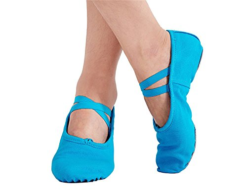 Sole Split Ballet Ballroom Dance Slippers 6 Shoes Blue Women's staychicfashion Practice Belly Canvas 6pwzqvqx