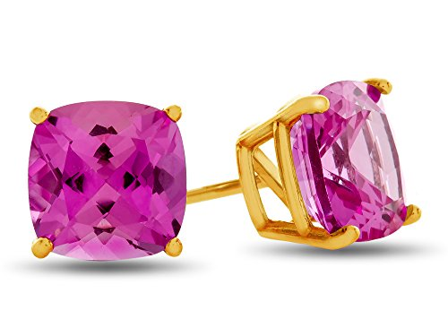 Finejewelers 7x7mm Cushion Created Pink Sapphire Post-With-Friction-Back Stud Earrings 14 kt Yellow Gold