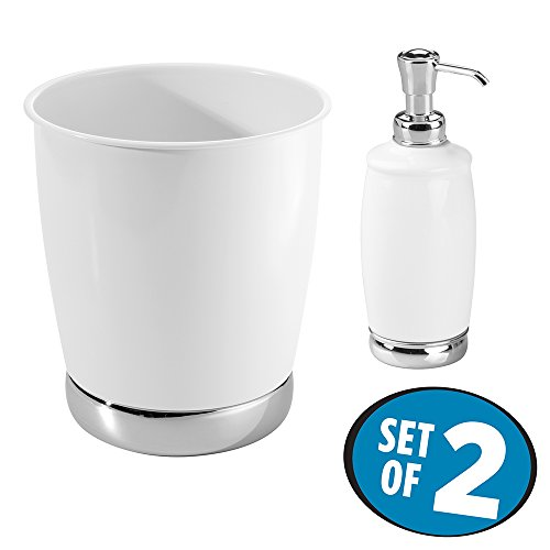 mDesign Soap or Lotion Dispenser Pump with Wastebasket Trash Can, 2 pc Bathroom Accessory Set - White/Chrome (Ceramic Bathroom Set)