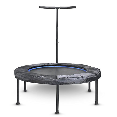 Mini Exercise Trampoline for Adults - Indoor Fitness Rebounder with Adjustable Handle Bar for Kids - with Cover and Folds Away For Small Easy Storage by Activox