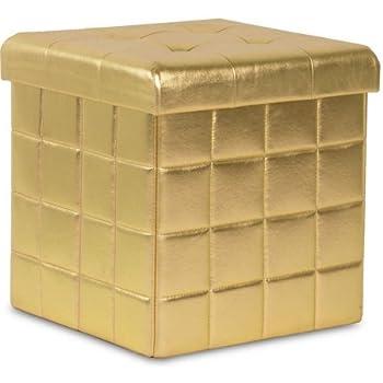 Amazon Com Mainstays Tufted Dazzle Storage Ottoman Gold
