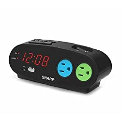 Sharp Bedside Alarm Clock with 1 Rapid Charge USB and 2 AC Outlets Ships from US