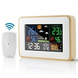 Weather Station with Outdoor Sensor, Wireless Indoor Outdoor Temperature and Humidity Monitor with Large Display, Weather Forecast, High/Low Temperature Alert, Alarm Clock and Snooze Function
