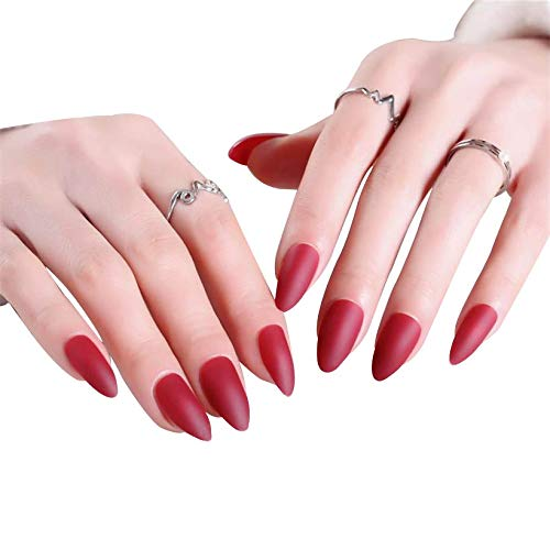 JINDIN 24 Sheet French Stiletto Matte Fake Nails for Women Acrylic False Nails Full Cover Press On Nails (Red) by JINDIN