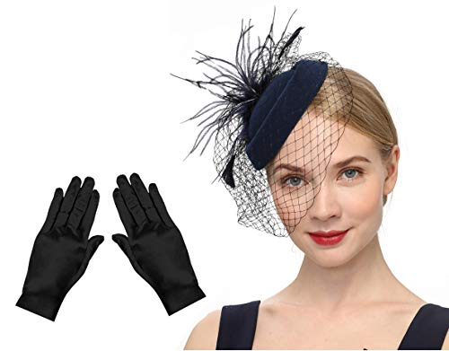 Fascinators Hats 20s 50s Hat Pillbox Hat Cocktail Tea Party Headwear with Veil for Girls and Women (B1-Black Set)]()