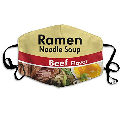 casually Dust Protecting Mask Reusable Mask for Men and Women Ramen Noodle Soup Beef Flavor Mouth Mask Unisex